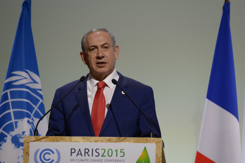 Prime Minister Binyamin Netanyahu speaks during the COP21, United Nations Climate Change Conference, in Le Bourget, outside Paris on November 30, 2015. Amos Ben Gershom/GPO