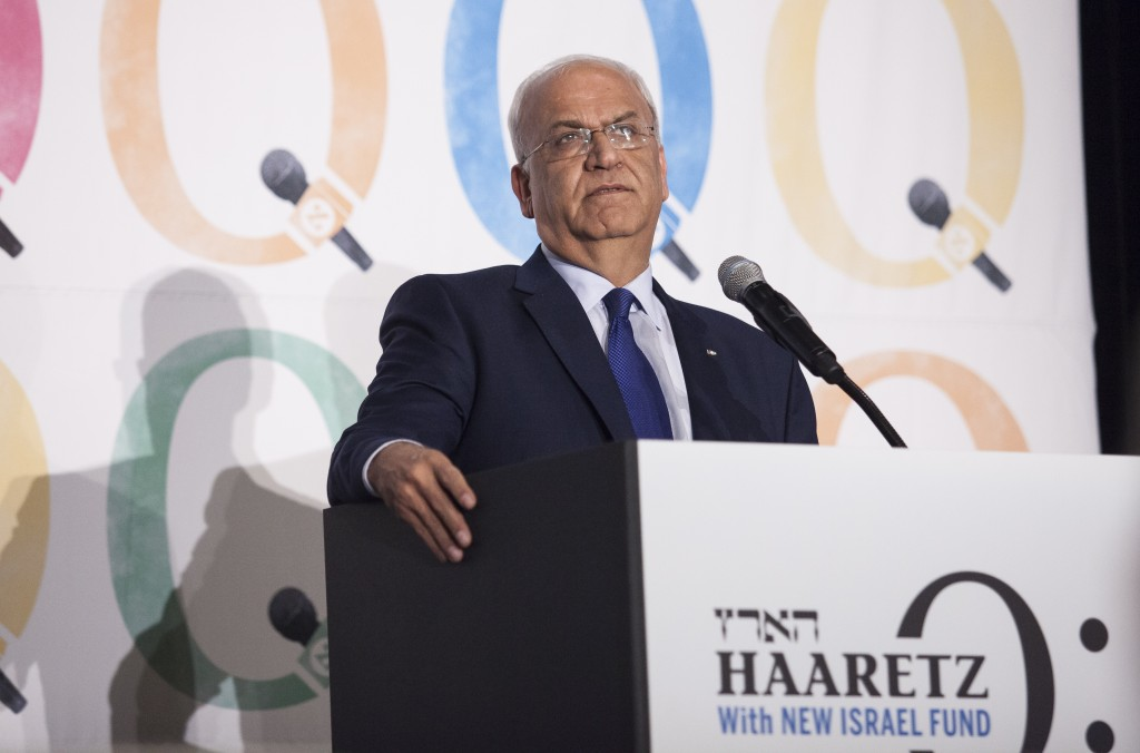 Sa'eb Erekat speaks at the Haaretz and New Israel Fund conference, December 13, 2015. Photo by Amir Levy/Flash90