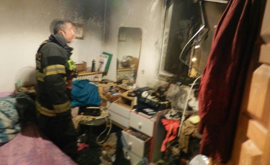 Jerusalem firefighters at the scene of Monday's blaze. Jerusalem Fire Dept.