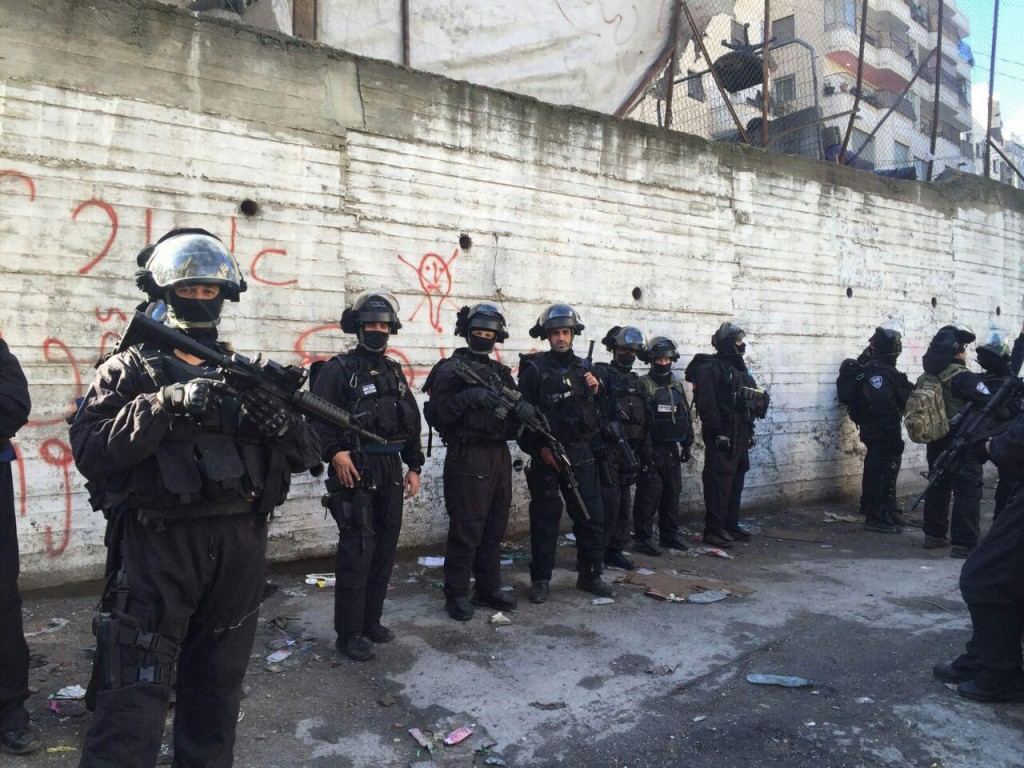 Israeli police at the home of the terrorist, to be demolished Wednesday, Dec. 2. (Israel Police)