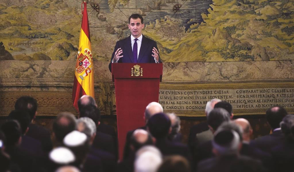 King Felipe VI of Spain delivers a speech at the Royal Palace in Madrid on November 30, during a ceremony to pay tribute to the Sephardic Jews expelled from Spain in 1492 by Catholic kings, after a law came into effect that facilitates the naturalization of their descendants.  (PIERRE-PHILIPPE MARCOU/AFP/Getty Images)