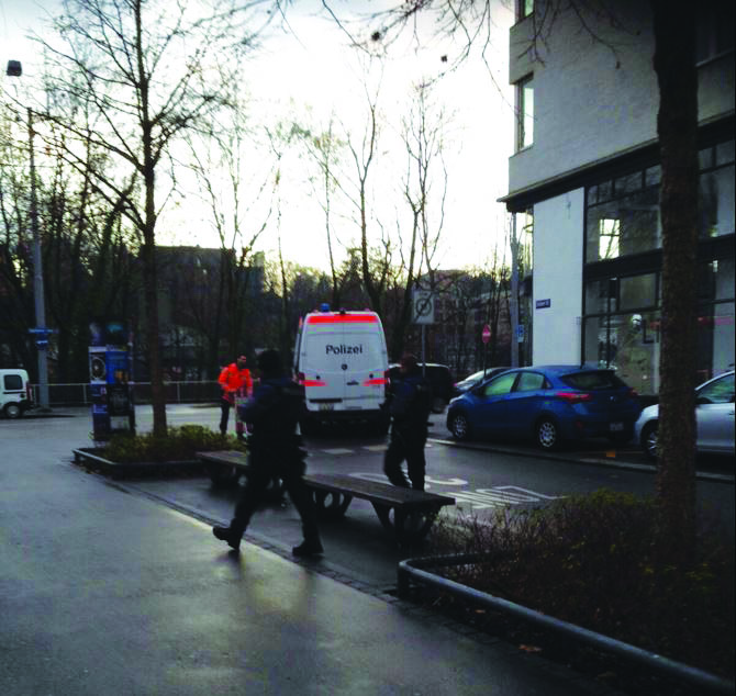 Police patrol outside a Jewish school in Zurich, Thursday morning.