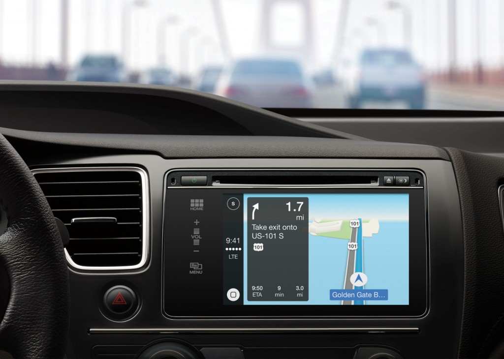 Apple Maps in a car equipped with CarPlay technology. (Apple via AP)