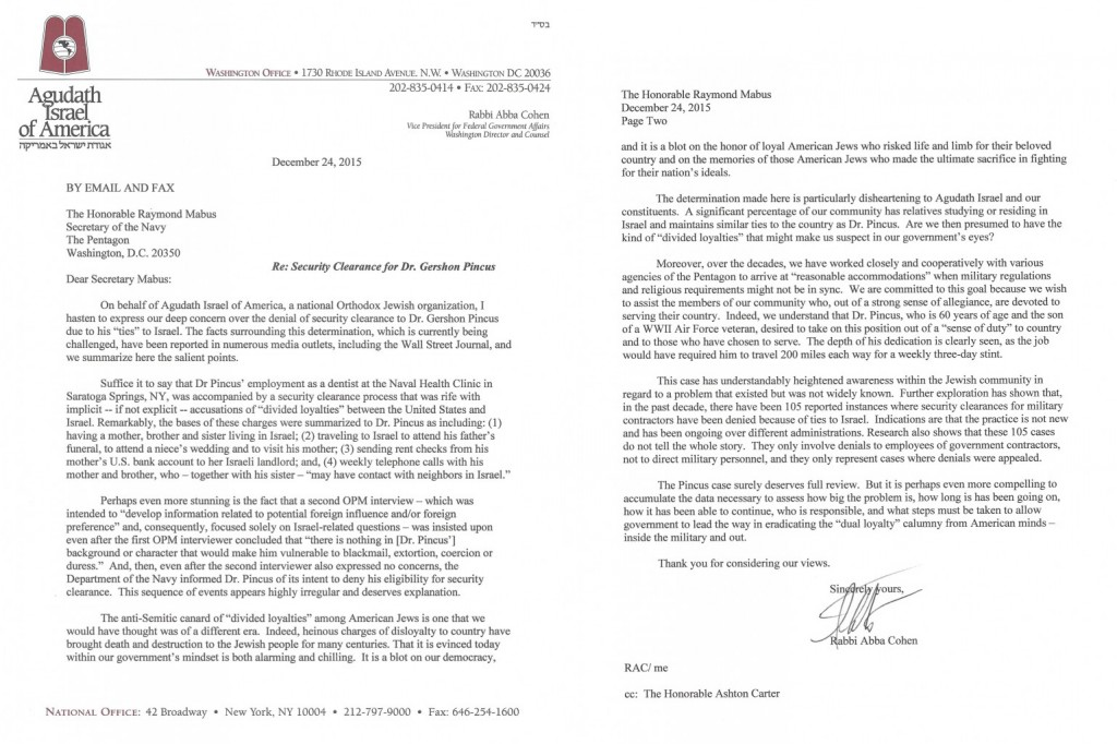Agudath Israel of America's letter to the Navy regarding the case.