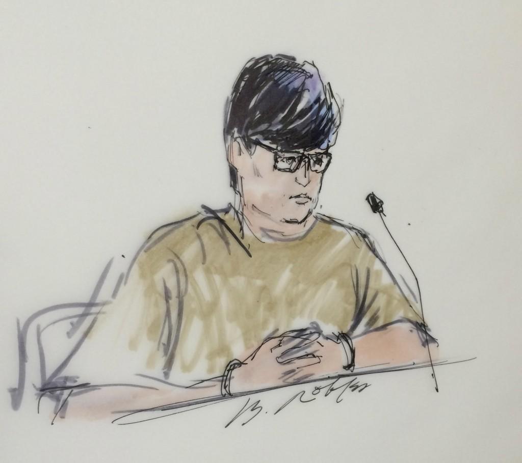 Enrique Marquez, shown here in a Dec. 17 courtroom sketch. (Reuters/Bill Robles)