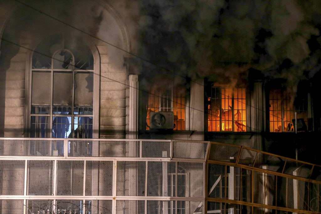 Flames and smoke rise from Saudi Arabia's embassy during a demonstration in Tehran January 2, 2016. (TIMA/Mehdi Ghasemi/ISNA/Reuters)