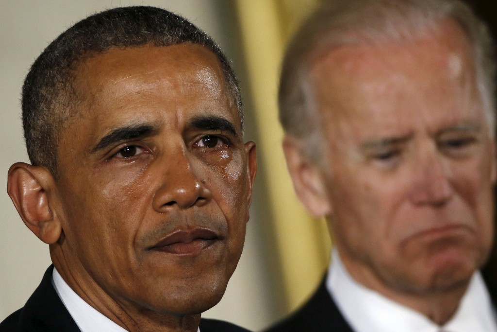 President Barack Obama delivering a statement on gun-control steps the administration is undertaking. Vice President Joe Biden is at right. (Reuters/Carlos Barria)