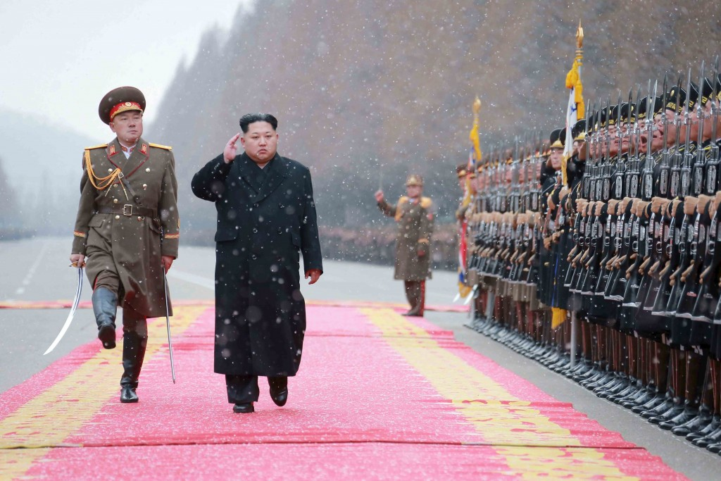 North Korean leader Kim Jong Un salutes during a visit to the Ministry of the People's Armed Forces, in this undated photo released by North Korea's Korean Central News Agency (KCNA) on January 10, 2016. (Reuters/KCNA)