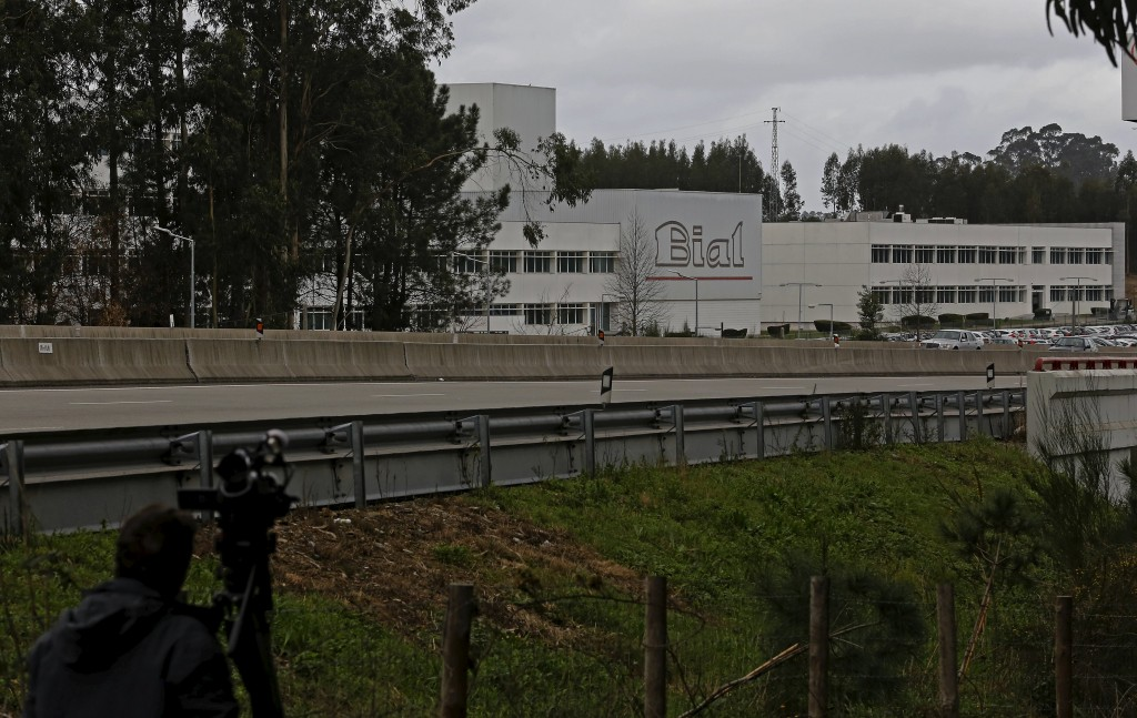 A cameraman films the Portuguese pharmaceutical company Bial headquarters in Maia, Portugal, January 18, 2016. A man left brain dead after a drug trial in northwest France died on Sunday, said the hospital where he was being treated. The Rennes hospital said in a statement that five other volunteers were in stable condition after they were admitted last week. In total, 90 people took part in the trial of the drug made by Portuguese pharmaceutical company Bial, which is intended to treat mood and anxiety issues, as well as movement coordination disorders linked to neurological issues. REUTERS/Hugo Correia
