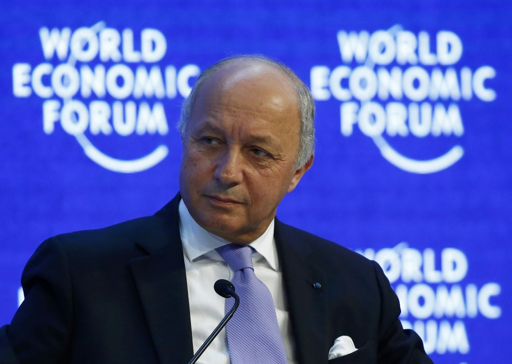 """French Foreign Minister Laurent Fabius attends the session """"The New Climate and Development Imperative"""" during the Annual Meeting 2016 of the World Economic Forum (WEF) in Davos, Switzerland January 21, 2016. (Ruben Sprich/Reuters)"""
