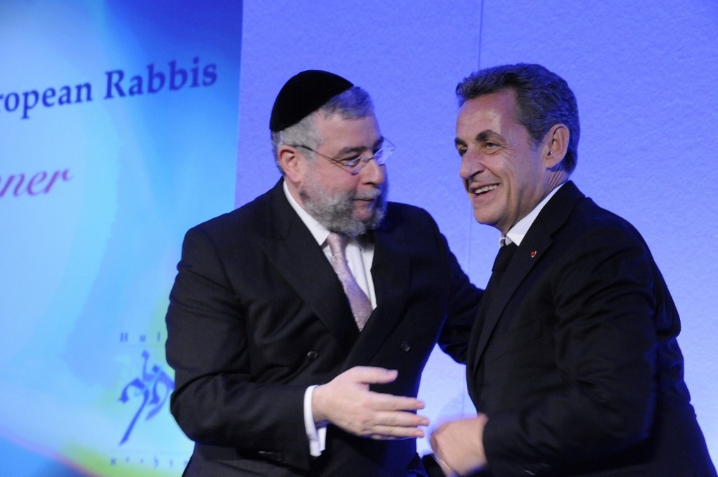 Chief Rabbi Pinchos Goldschmidt (L.) President of the CER with former French President Nicolas Sarkozy (R.)