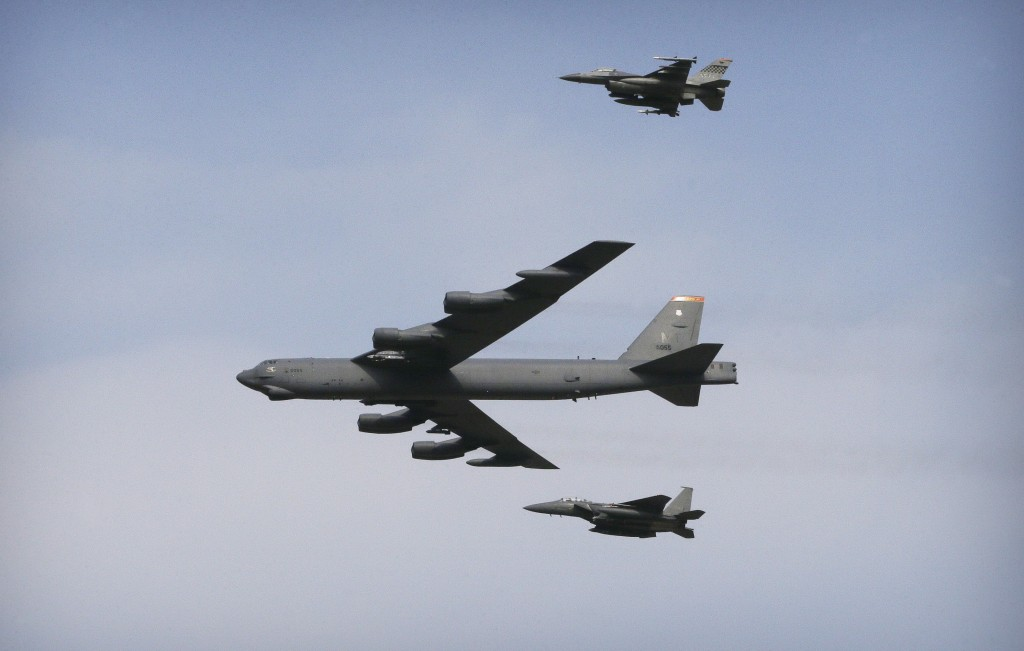 A U.S. Air Force B-52 bomber flies over Osan Air Base in Pyeongtaek, South Korea, Sunday. (AP Photo/Ahn Young-joon)