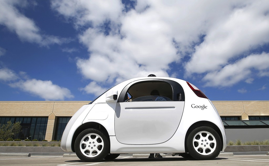 In this May 13, 2015 photo, Google's new self-driving prototype car is presented during a demonstration at the Google campus in Mountain View, Calif.   (AP Photo/Tony Avelar, File)
