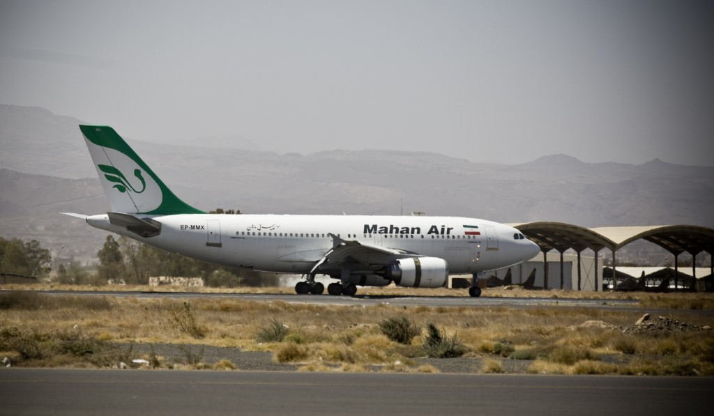 A plane from the Iranian private airline, Mahan Air. (AP Photo/Hani Mohammed)