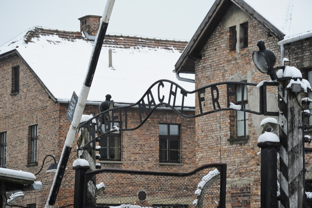 "The notorious ""Arbeit Macht Frei"" (Work Sets You Free) sign above the entrance gate of the Auschwitz Nazi death camp. (AP Photo/Alik Keplicz)"
