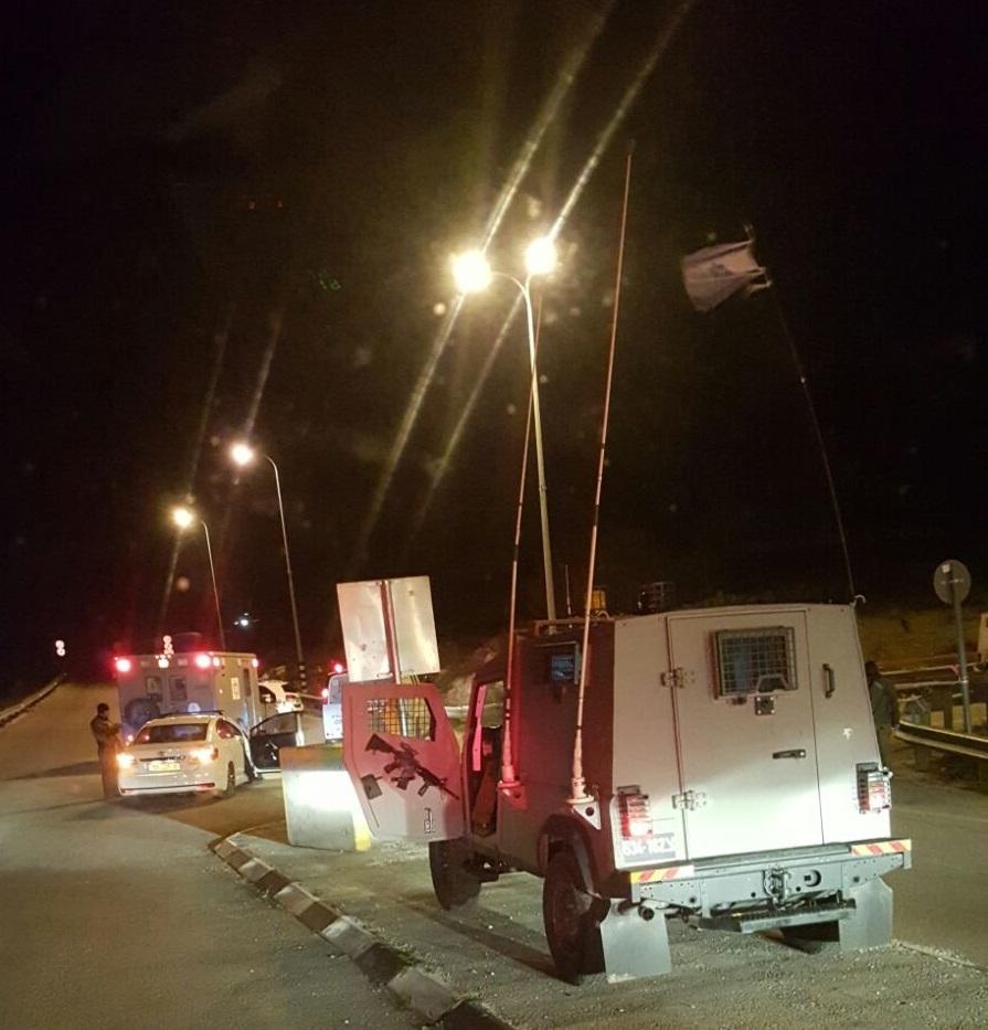 The Gush Etzion Junction following the attack Thursday evening. (Gush Etzion Spokesperson)