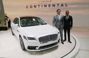 Mark Fields, president and CEO of Ford Motor Company, left, and Kumar Galhotra, president of Lincoln, stand next to the 2017 Lincoln Continental at the North American International Auto Show in Detroit on Tuesday. (AP Photo/Carlos Osorio)