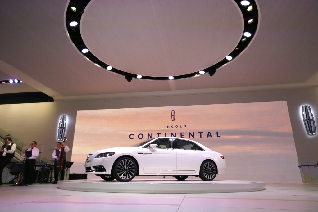 The 2017 Lincoln Continental is unveiled at the North American International Auto Show in Detroit on Tuesday. (AP Photo/Carlos Osorio)