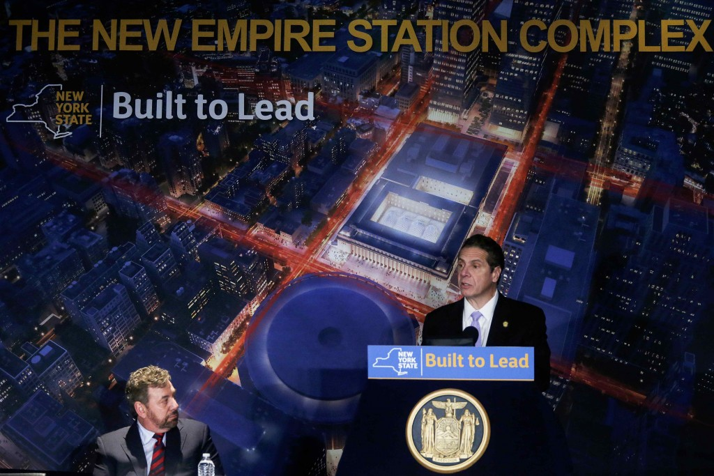 Gov. Andrew Cuomo on Wednesday unveils an ambitious proposal in Madison Square Garden to remake Penn Station. (Carlo Allegri/Reuters)