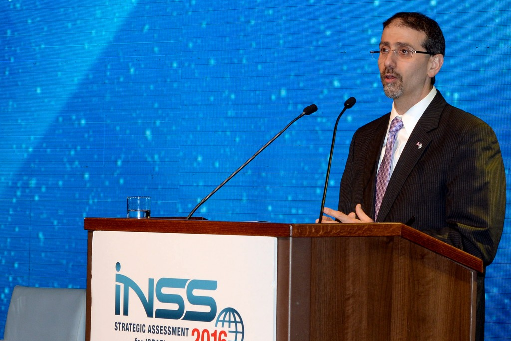 US Ambassador Dan Shapiro speaks at the International Conference of the Institute for National Security Studies in Tel Aviv on January 18, 2016. Photo by Matty Stern/U.S. Embassy Tel Aviv