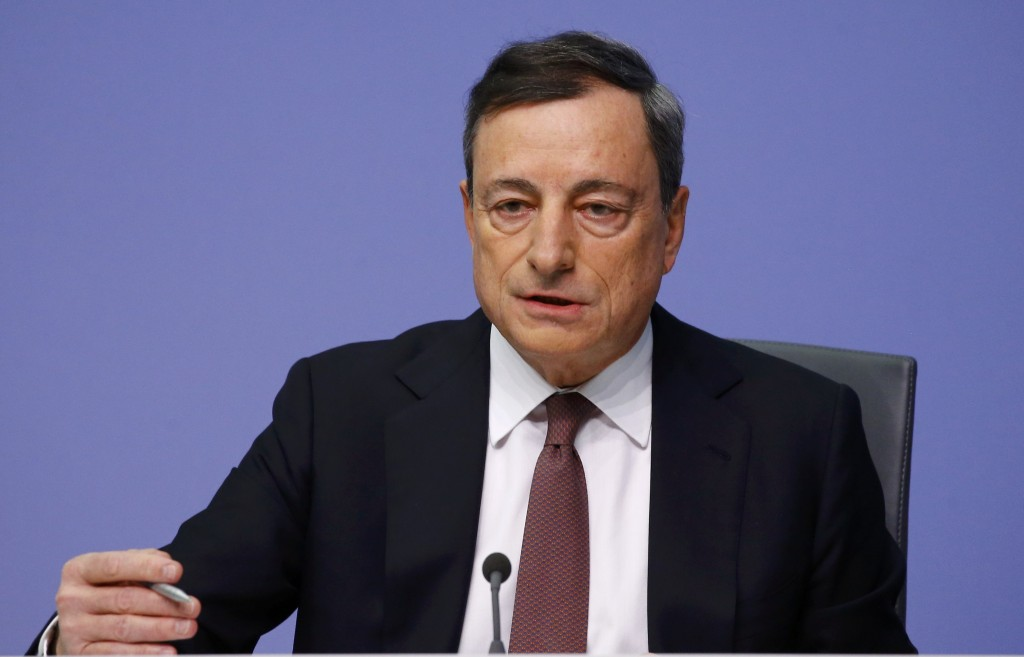 The European Central Bank (ECB) President Mario Draghi addresses a news conference at the ECB headquarters in Frankfurt, Germany, January 21, 2016. The ECB held interest rates at record lows on Thursday, but the market crash, tumbling bank stocks and ebbing inflation may set the stage for action later in the year. REUTERS/Kai Pfaffenbach