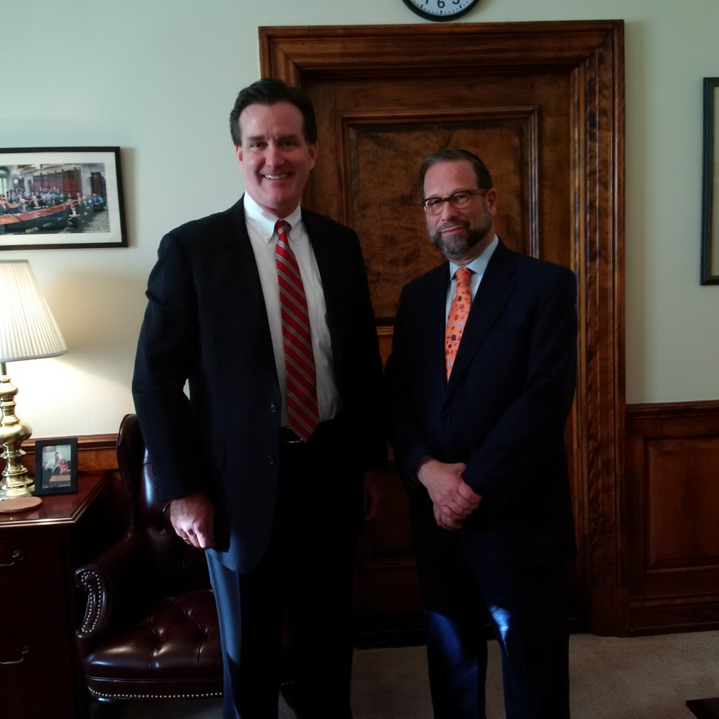 State Senate Majority Leader John Flanagan (R-Suffolk) in Albany last week with Leon Goldenberg, a member of Agudath Israel's board of trustees. (Agudath Israel of America)