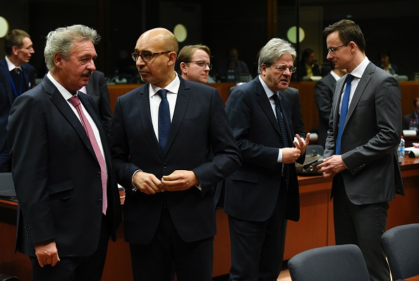Luxemburger Foreign minister Jean Asselborn (L) talks with French Secretary of State of European Affairs Harlem Desir (2ndR), Italian Foreign Affairs minister Paolo Gentiloni and Hungarian Foreign minister Peter Szijjarto during an EU Foreign Affairs Council meeting at the EU headquarters in Brussels on Monday. (John Thys/AFP/Getty Images)