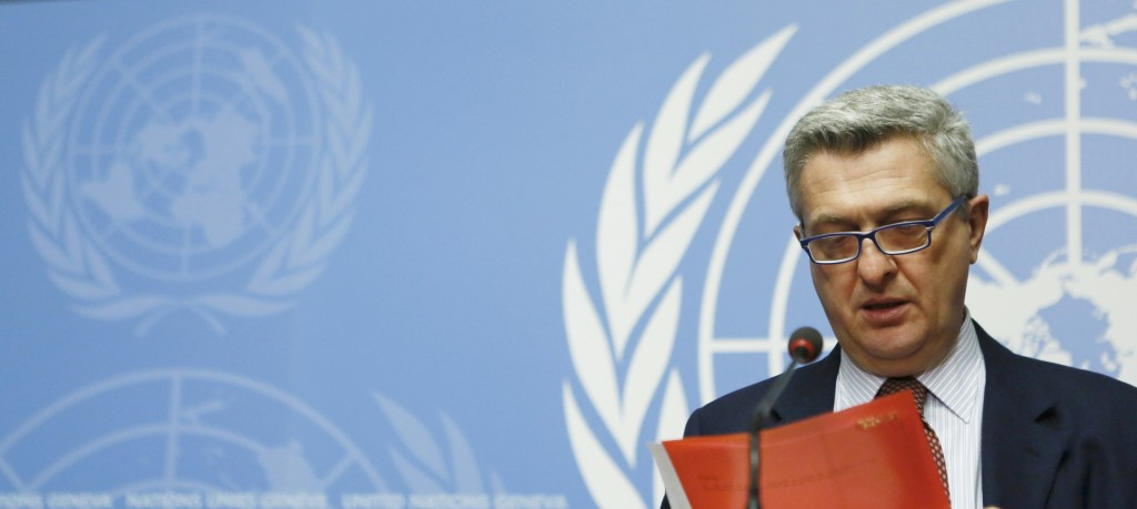 REFILE - FIXING IDENTIFYING SLUGNew U.N. High Commissioner for Refugees Filippo Grandi gives his first news conference at the United Nations European headquarters in Geneva, Switzerland, January 7, 2016. REUTERS/Pierre Albouy