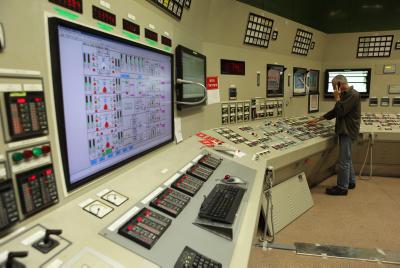 View from inside the control room at the Israel Electricity Company power station. Yaakov Naumi/Flash90