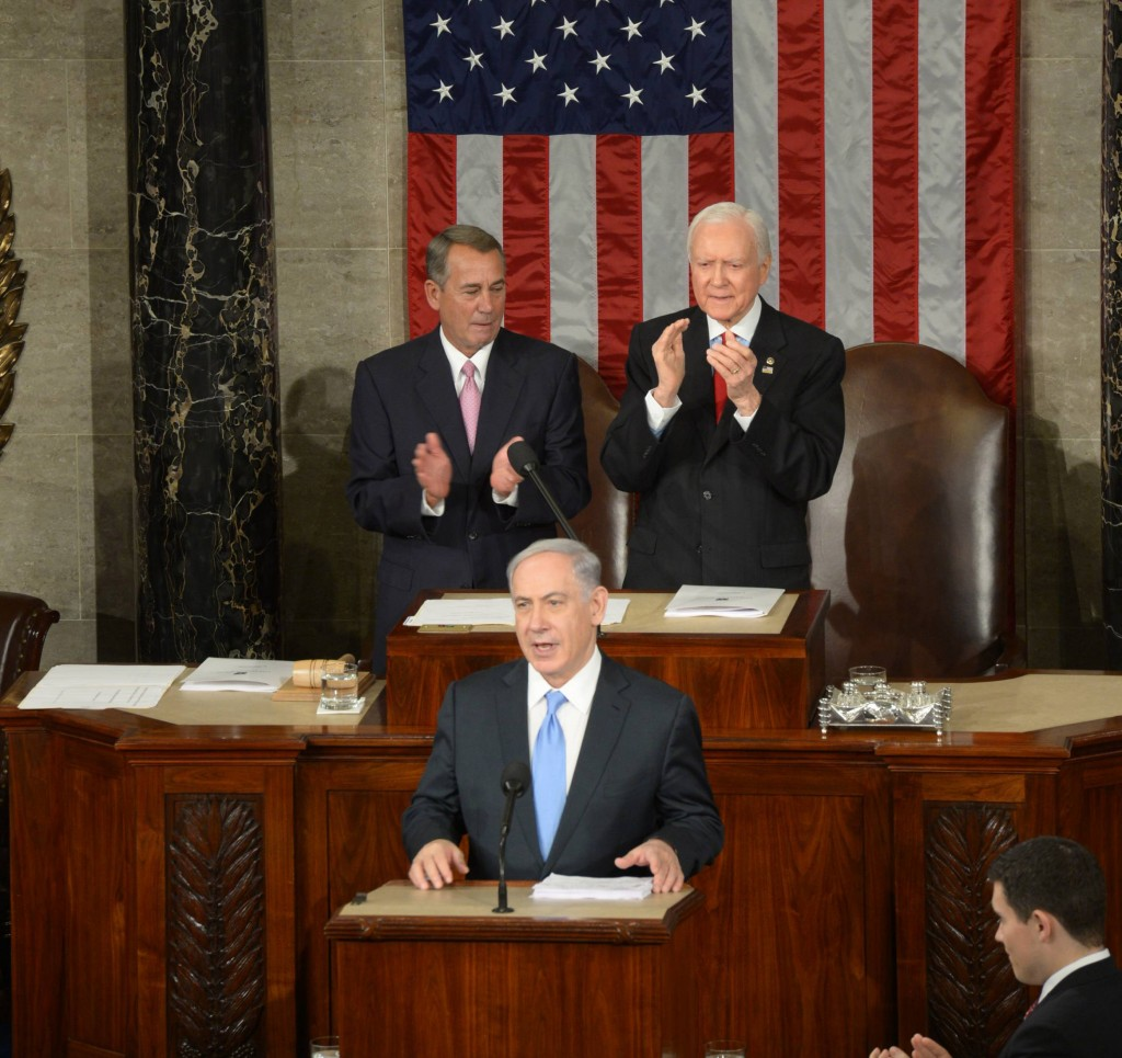 Israeli Prime Minister Benjamin Netanyahu addresses a joint meeting of Congress on Capitol Hill in Washington D.C., the United States, calling for rejection of a bad nuclear deal with Iran. on March 03, 2015. Photo by Amos Ben Gershom/ GPO *** Local Caption *** נאום ראש הממשלה בנימין נתניהו ב קונגרס ב וושינגטון