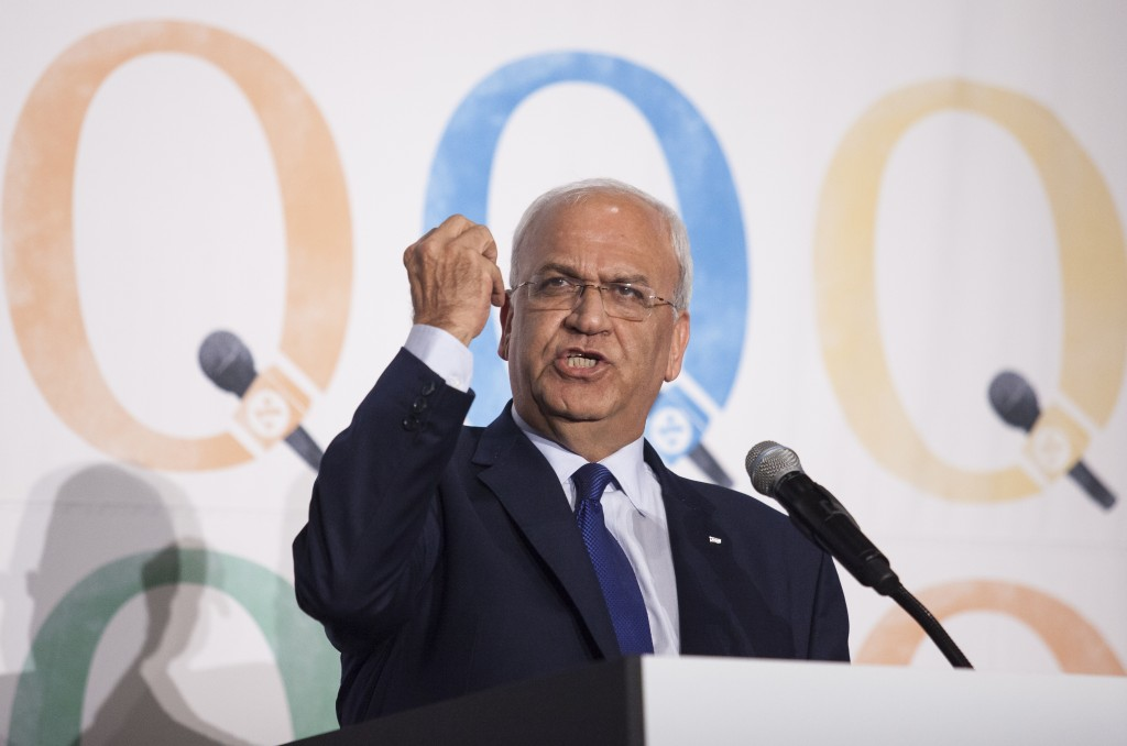 Palestinian Authority member, Saeb Erekat, speaks at the Haaretz and New Israel Fund conference in Roosevelt Hotel, NYC, on December 13, 2015. Photo by Amir Levy/Flash90 *** Local Caption *** ñàéá òøé÷àú äàøõ ëðñ ðéå éåø÷ àøöåú äáøéú àîøé÷ä äøùåú äôìñèéðéú