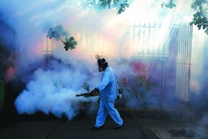 A health ministry worker fumigates a house to kill mosquitoes during a campaign against dengue and chikungunya and to prevent the entry of Zika virus in Managua, Nicaragua. (Oswaldo Rivas/Reuters)