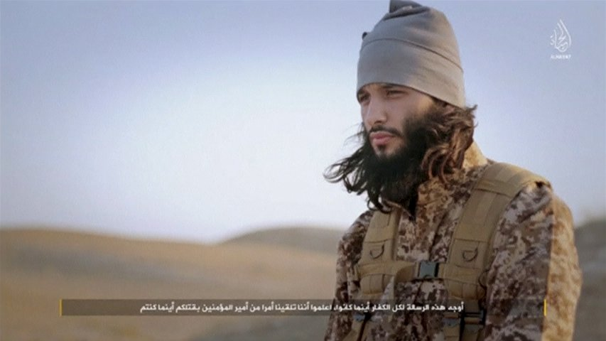 A screenshot of a man referred to by his nom de guerre as 'Abu Fu'ad al-Faransi' is seen in this image taken from an undated video. The video published on January 24, 2016 by the media centre of Islamic State purported to show images and last statements of nine of the people who took part in the Paris attacks that killed 130 people on November 13. The attackers are identified in the video by noms de guerre referring to their nationalities. REUTERS/al-Hayat Media Center of IS via Reuters TVATTENTION EDITORS - THIS PICTURE WAS PROVIDED BY A THIRD PARTY. REUTERS IS UNABLE TO INDEPENDENTLY VERIFY THE AUTHENTICITY, CONTENT, LOCATION OR DATE OF THIS IMAGE. THIS PICTURE IS DISTRIBUTED EXACTLY AS RECEIVED BY REUTERS, AS A SERVICE TO CLIENTS. FOR EDITORIAL USE ONLY. NOT FOR SALE FOR MARKETING OR ADVERTISING CAMPAIGNS. FOR EDITORIAL USE ONLY. NO RESALES. NO ARCHIVE.