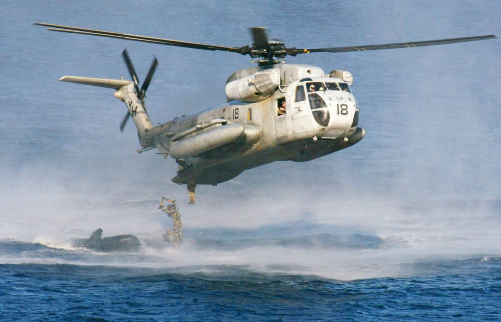 Two Marine helicopters similar to the CH-53D Sea Stallion seen in this file photo collided off the Hawaiian island of Oahu on Friday. (AP Photo/Bullit Marquez, File)