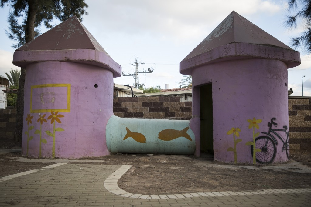 A street bomb shelter for people to take cover during air-raid warnings in a children's playground in Sderot. (Hadas Parush/Flash90)