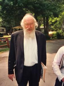 Rav Belsky in Camp Agudah after delivering his shiur in the summer of 2005. (Yosef Caldwell)