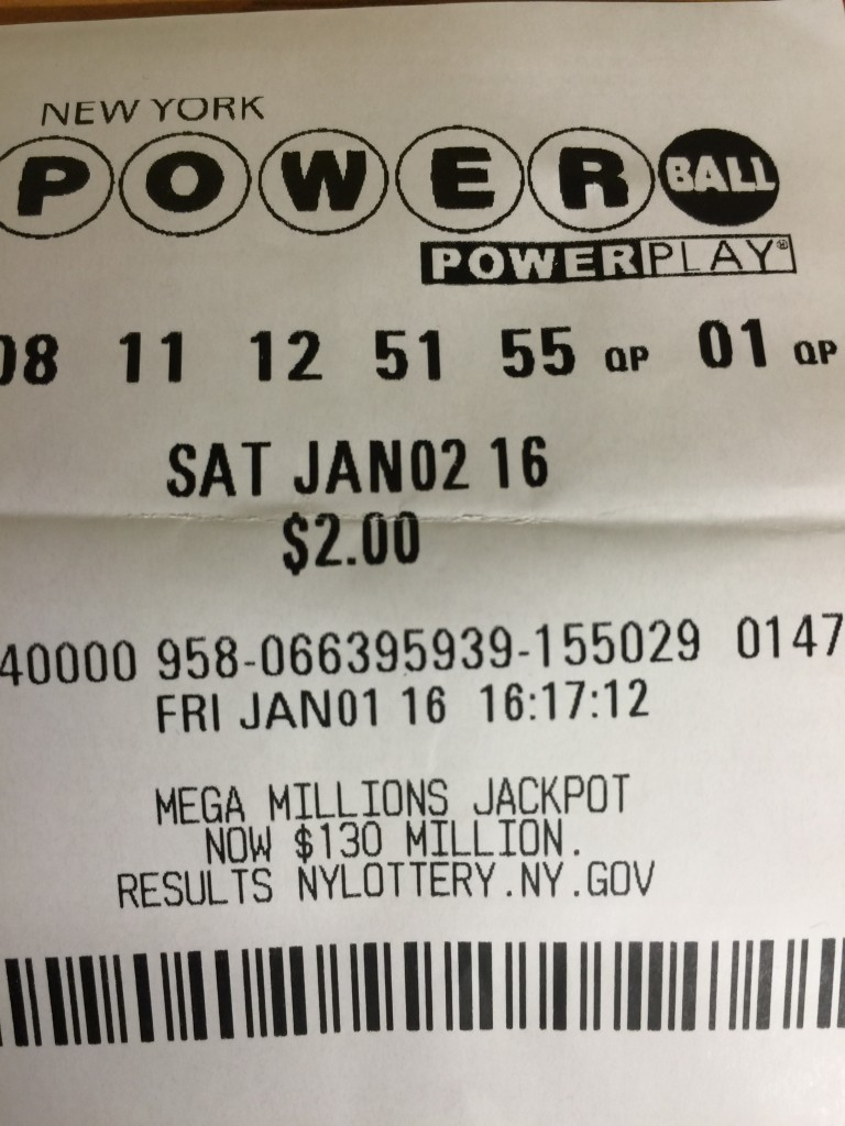 A ticket for the Saturday, Jan. 2 Powerball lotto, purchased in New York. Nobody won the jackpot for that drawing, and the next drawing, on Wednesday, Jan. 6, could see a jackpot prize in the range of $400 million. (Isser Berg/Hamodia)