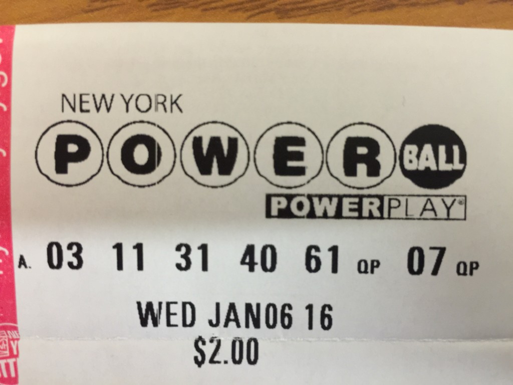A ticket for Wednesday's Powerball lottery. (Isser Berg/Hamodia)