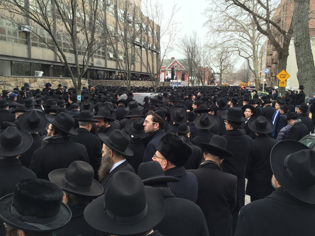 "Massive Crowd Friday at the Levayeh of Hagaon Harav Chaim Yisroel Belsky zt""l in Yeshiva Torah Vodaath (Isser Berg/Hamodia)"