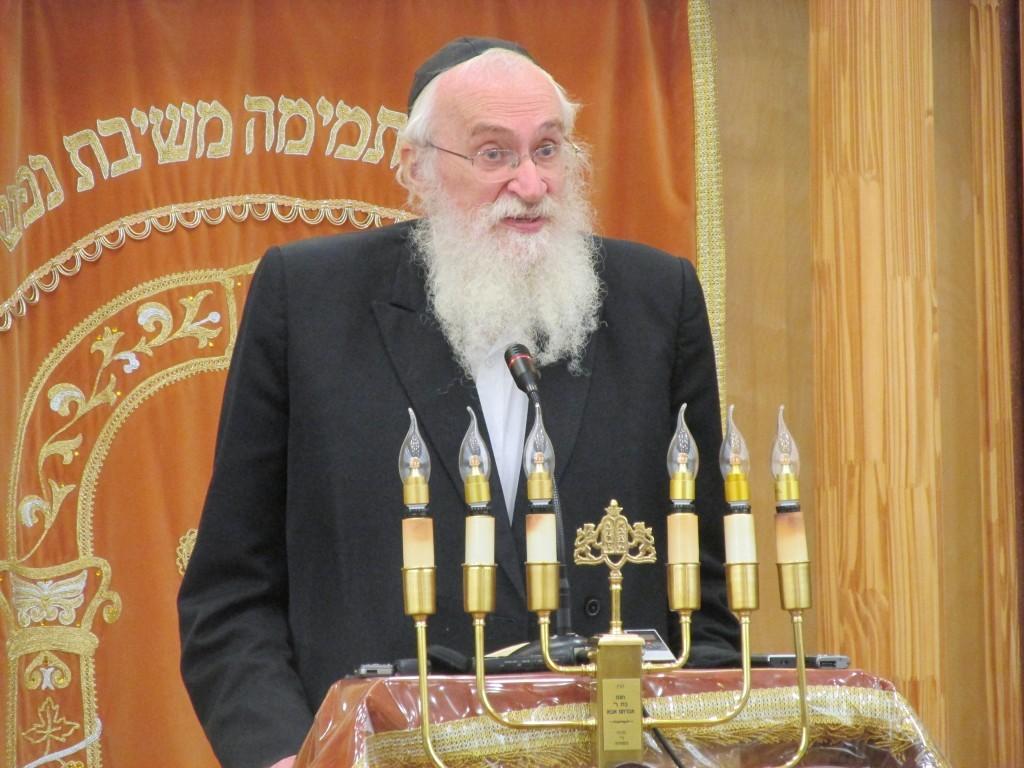 Harav Chaim Yisroel Belsky, shlita, speaking last summer at Camp Agudah.