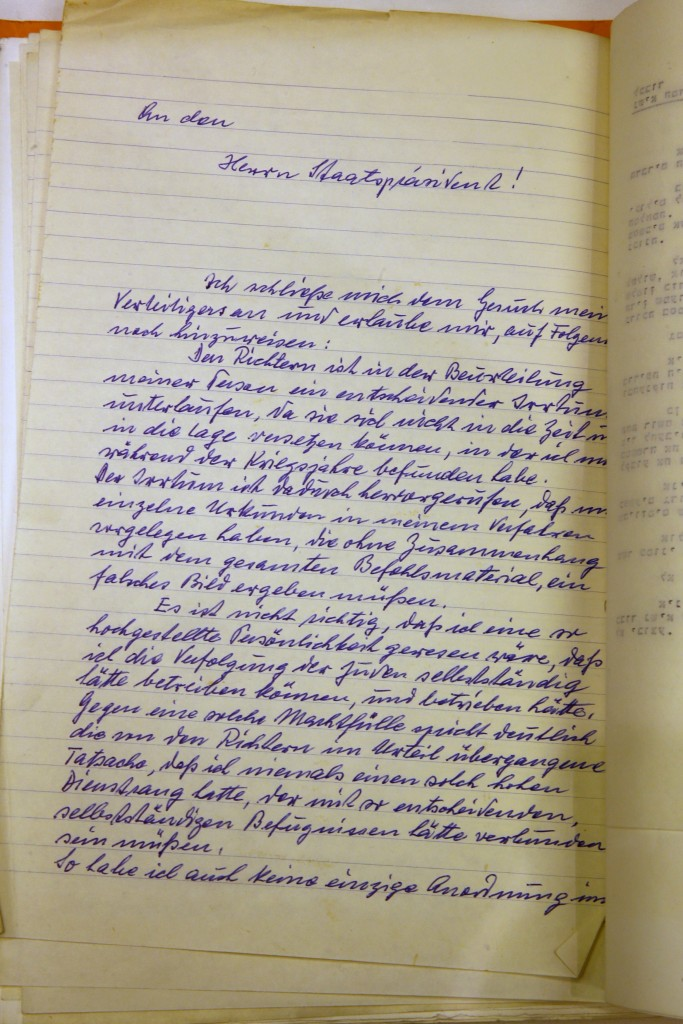 """QUALITY REPEAT A handwritten request for clemency by Adolf Eichmann, an architect of the Nazi Holocaust, is seen during a ceremony to mark 55 years since the Eichmann trial of at Israeli President Reuven Rivlin's residence in Jerusalem January 27, 2016. Israel made public on Wednesday the handwritten request for clemency by Adolf Eichmann, an architect of the Nazi Holocaust, who was executed by Israel in 1962 following a war crimes trial. In his letter to then-President Yitzhak Ben-Zvi, Eichmann said he was a """"mere instrument"""" of leaders responsible for the killing of 6 million Jews in World War Two. His plea for his death sentence to be commuted was dated two days prior to his hanging. Release of the letter, written in ballpoint pen, coincided with International Holocaust Remembrance Day. REUTERS/Ammar Awad"""