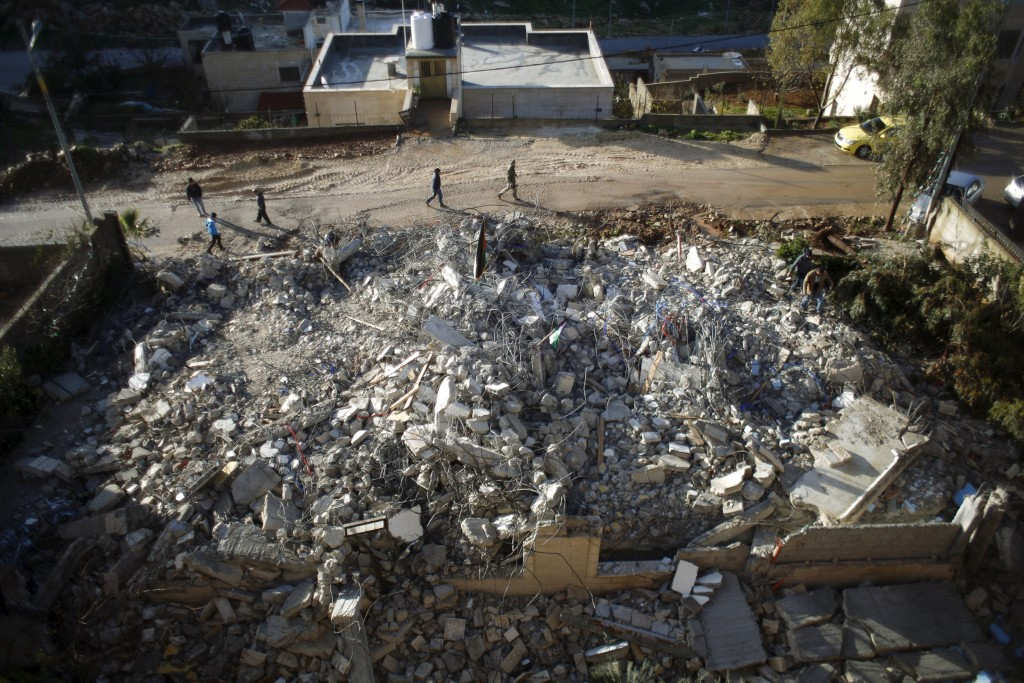 The family house of Palestinian Mohanad Al-Halabi is seen after it was demolished by Israeli troops in the village of Surda, near the West Bank city of Ramallah January 9, 2016. Israeli security forces said Halabi had carried out attack against Israelis in Jerusalem last October. REUTERS/Mohamad Torokman