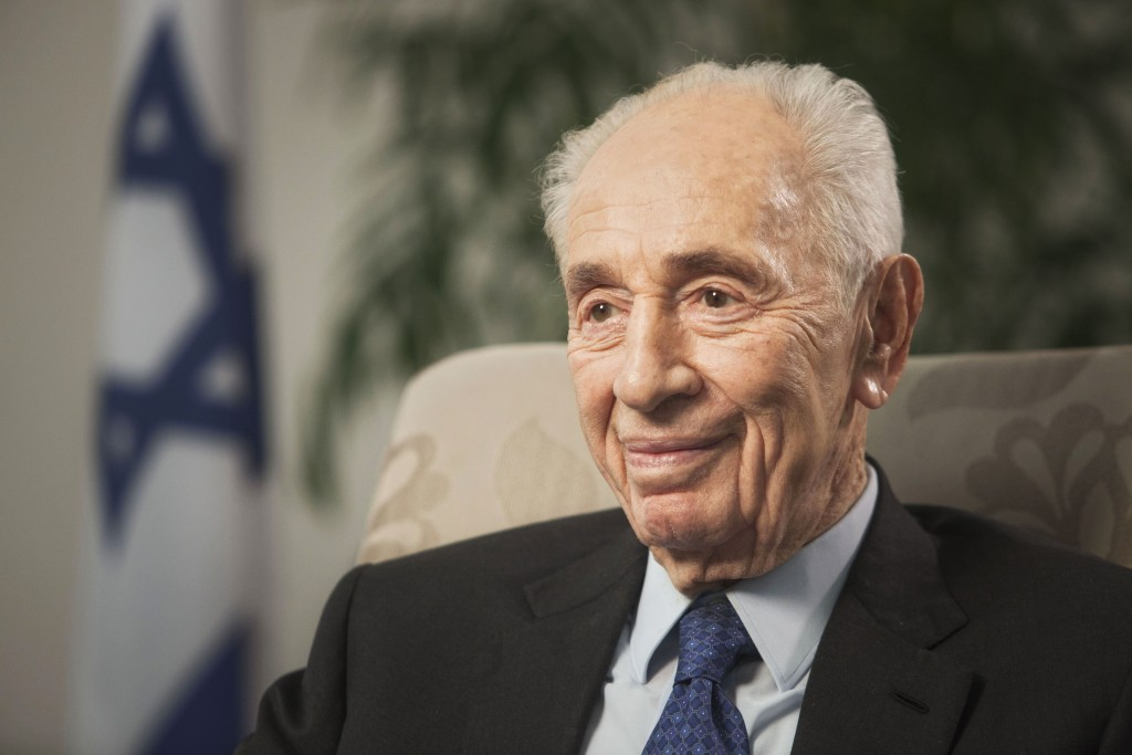FILE - In this Nov. 2, 2015 file photo, former Israeli President Shimon Peres speaks during an interview with The Associated Press in Yerushalayim. (AP Photo/Dan Balilty, File)