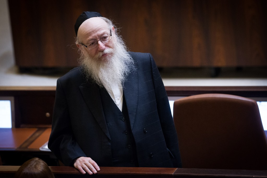 Israeli Minister of Health Rabbi Yaakov Litzman in the Knesset on Monday. (Miriam Alster/Flash90)