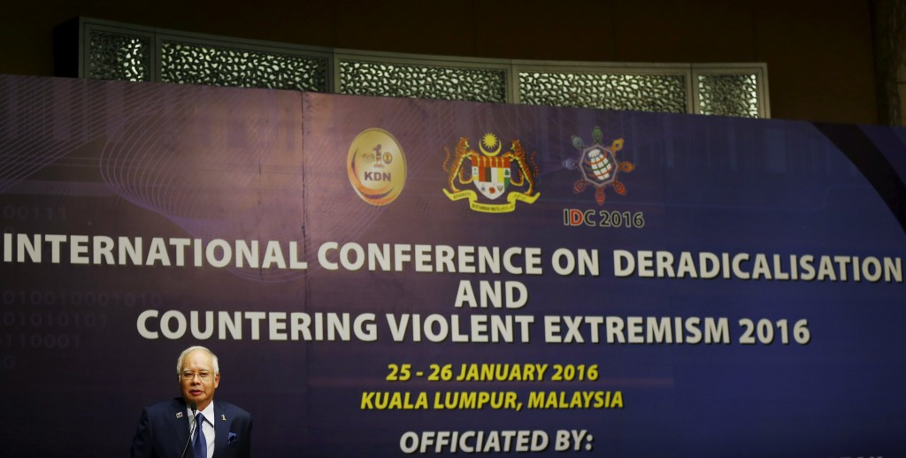 Malaysia's Prime Minister Najib Razak speaks at the opening of the International Conference on Deradicalisation and Countering Violent Extremism in Kuala Lumpur, Malaysia, January 25, 2016. REUTERS/Olivia Harris