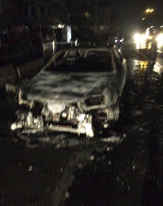 The wreckage of the car that was used in Monday's attack on a mall in Baghdad that left 18 dead. (AP Photo)