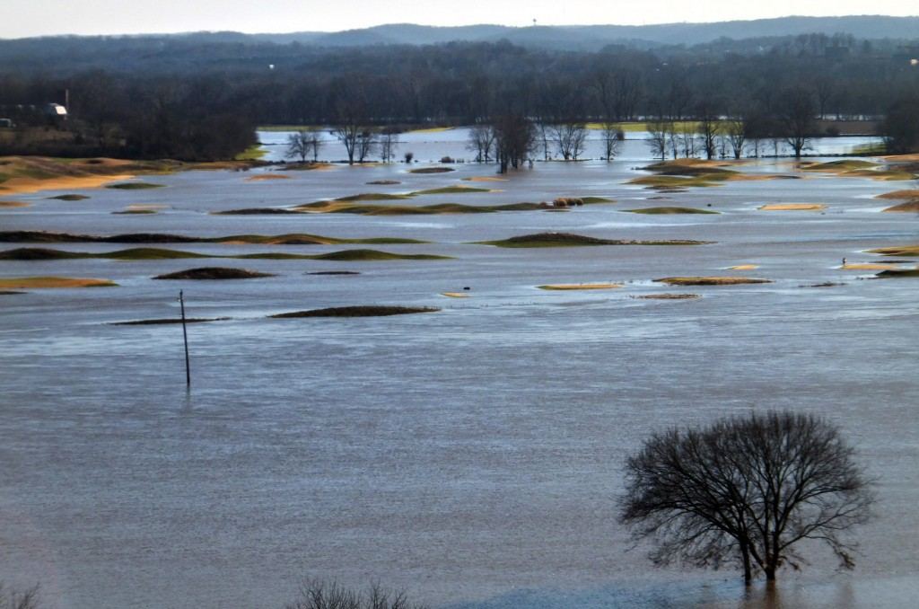 The flooded Crescent area of west St. Louis County, Mo., on Friday. (Jennie Crabbe/St. Louis Post-Dispatch via AP)