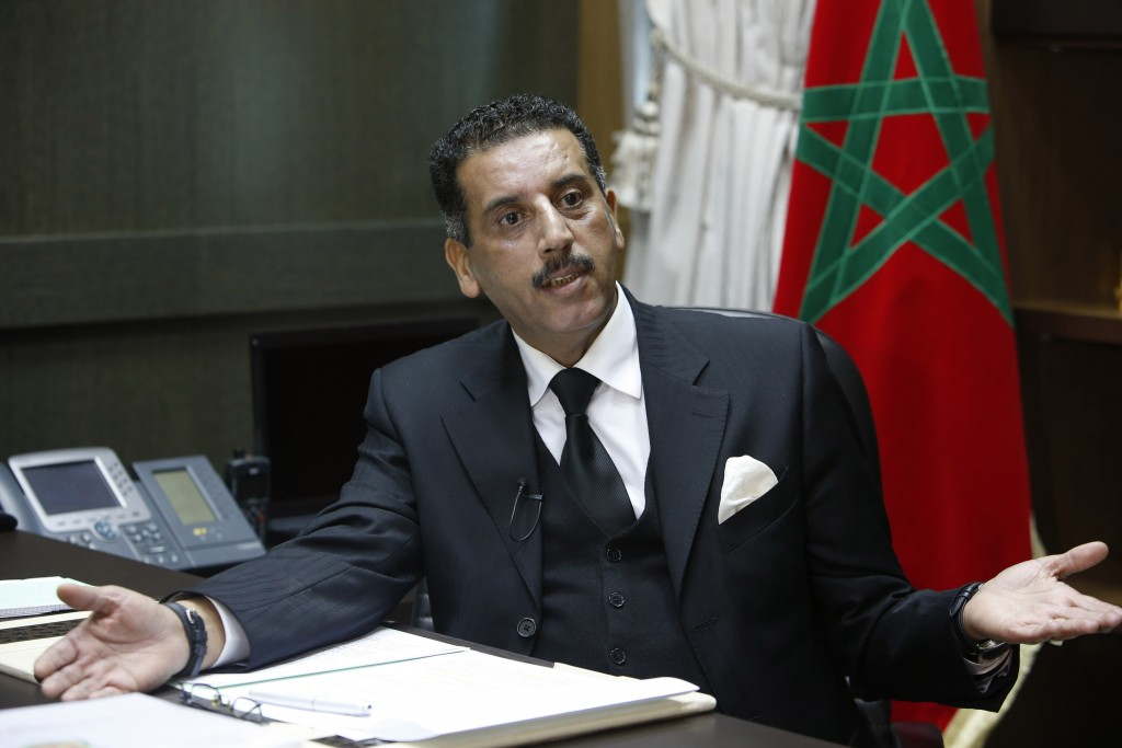 The director of the Central Bureau of Judicial Investigations, Abdelhak Khiame, gestures during an interview with The Associated Press at his headquarters in Sale near Rabat, Morocco, Tuesday, Jan. 5, 2016. Khiame says it was his country that put French and Belgian police on the trail of the network behind the Paris attacks that killed 130, and likely spared more lives by pinpointing the location of the man considered the main organizer, holed up outside the French capital. (AP Photo/Abdeljalil Bounhar)