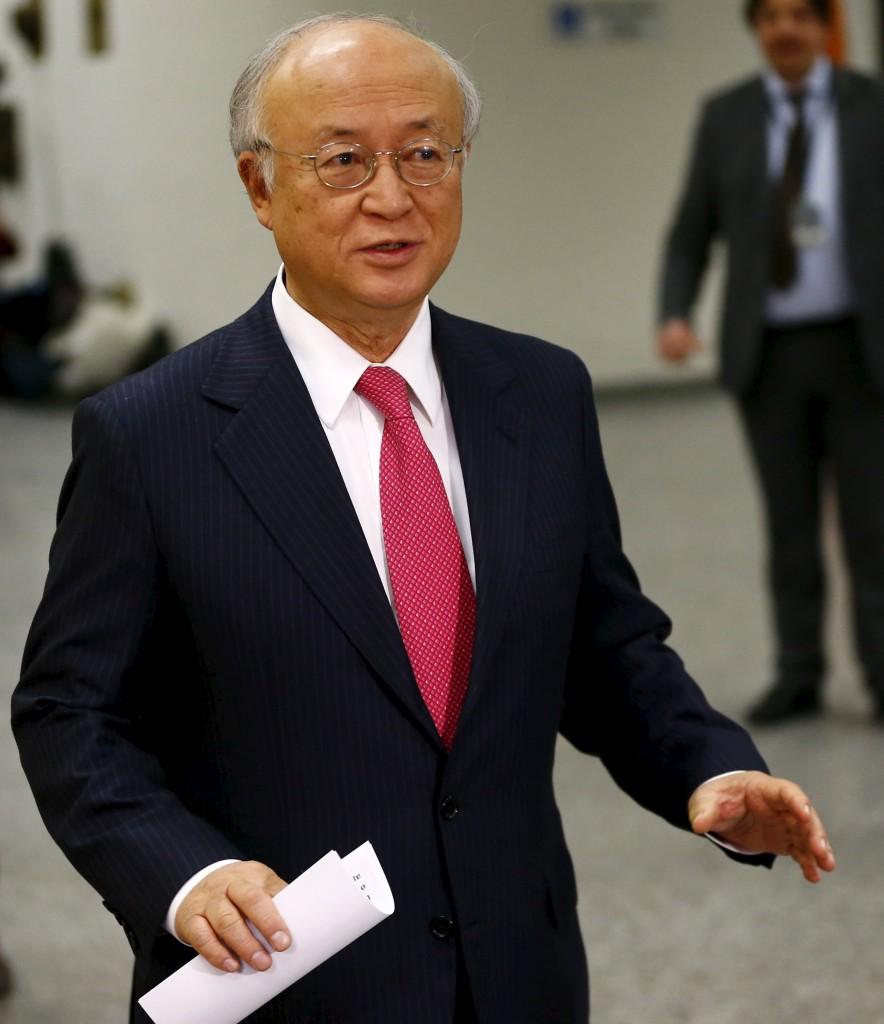 International Atomic Energy Agency (IAEA) Director General Yukiya Amano addresses the media at the United Nations building in Vienna, Austria, January 16, 2016. REUTERS/Leonhard Foeger