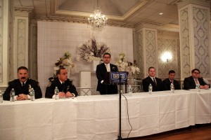 Diego Rodriguez, the FBI agent in charge of the New York office, addresses the gathering Monday. (Hillel Engel/Misaskim)